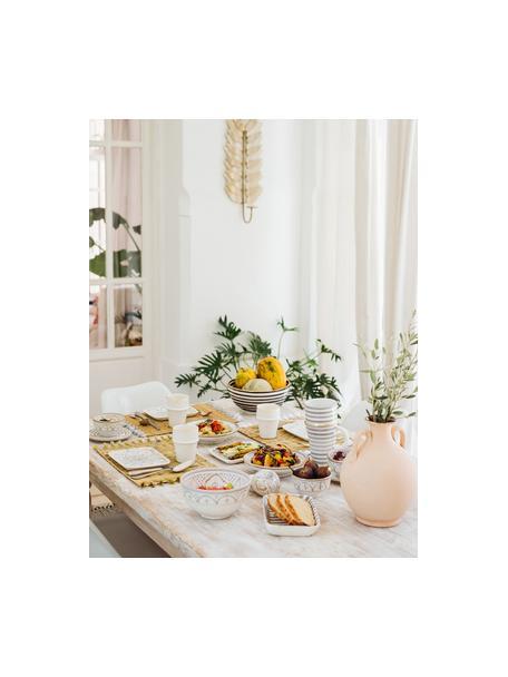 Insalatiera fatta a mano stile marocchino con bordo oro Couleur, Ø 25 cm, Ceramica, Nero, crema, oro, Ø 25 x Alt. 12 cm