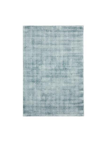Handgewebter Viskoseteppich Jane in Eisblau, Flor: 100% Viskose, Eisblau, B 200 x L 300 cm (Größe L)