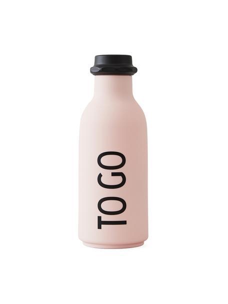 Design thermosfles TO GO in roze met opschrift, Fles: tritan (kunststof), BPA-v, Deksel: polypropyleen, Mat roze, zwart, Ø 8 x H 20 cm