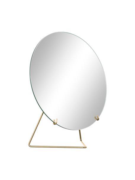 Okrągłe lusterko kosmetyczne ze stalową ramą Standing Mirror, Stelaż: stal malowana proszkowo, Odcienie złotego, S 20 x W 23 cm