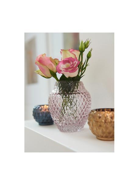 Handgemaakte glazen vaas Poesia, Glas, Roze, Ø 19 x H 23 cm