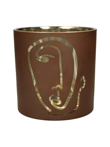 Portavelas Zircon, Vidrio recubierto, Marrón, dorado, Ø 15 x Al 15 cm