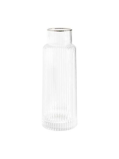 Handgefertigte Wasserkaraffe Minna mit Rillenrelief und Silberrand, Glas, mundgeblasen, Transparent, Silber, Ø 10 x H 25 cm