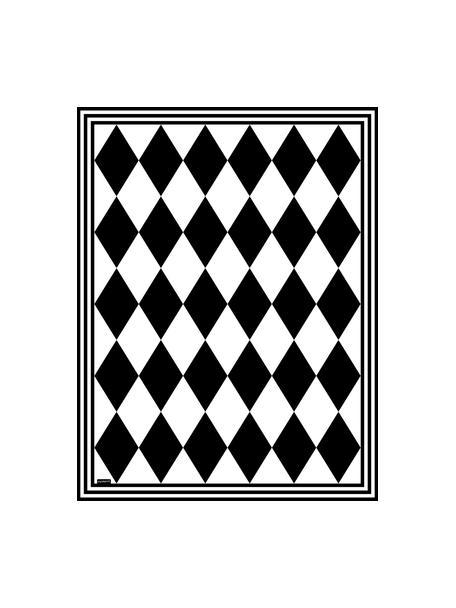 Flache Vinyl-Bodenmatte Bobby II in Schwarz/Weiß, rutschfest, Vinyl, recycelbar, Schwarz, Weiß, 65 x 85 cm