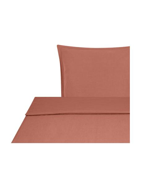 Set lenzuola in lino soffice lavato Nature, Mezzo lino (52% lino, 48% cotone) Numero di fili 108 TC, qualità standard Il mezzo lino ha un'sensazione naturale e un naturale aspetto sgualcito, che viene esaltato dall'effetto stonewash. Assorbe fino al 35% di umidità, si asciuga molto rapidamente e ha un effetto piacevolmente rinfrescante nelle notti d'estate. L'elevata resistenza allo strappo rende il mezzo lino resistente all'abrasione e all'usura, Terracotta, 155 x 300 cm + 1 federa 50 x 80 cm