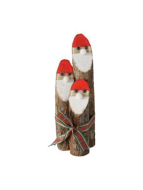 Figuras decorativas Santa Claus de madera Gylla, 3uds., Madera, Marrón, blanco, rojo, negro, Ø 7 cm x Al 20 cm