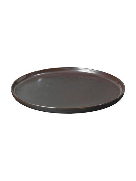 Handgemaakte dinerborden Esrum Night, 4 stuks, Geglazuurd keramiek, Mat glinsterend zilverachtig grijsbruin, Ø 28 cm
