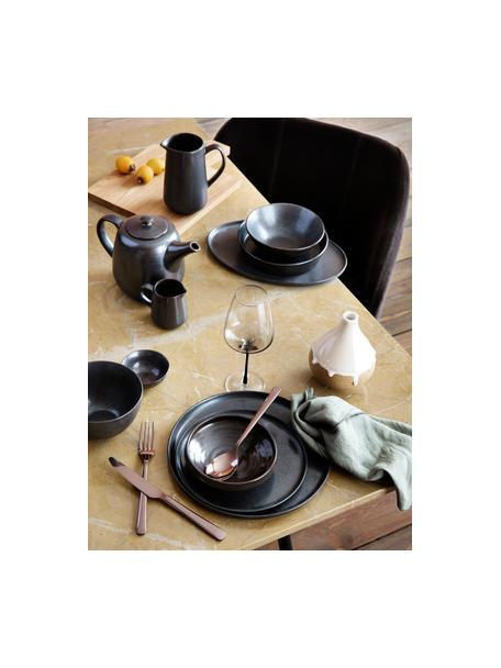 Handgemachte Speiseteller Esrum Night, 4 Stück, Steingut, glasiert, Graubraun, matt silbrig schimmernd, Ø 28 cm