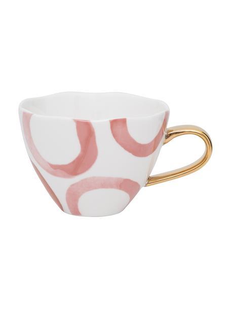 Beschilderde mok Good Morning met goudkleurig handvat, Beenderporselein, Wit, roze, goudkleurig, Ø 11 x H 8 cm