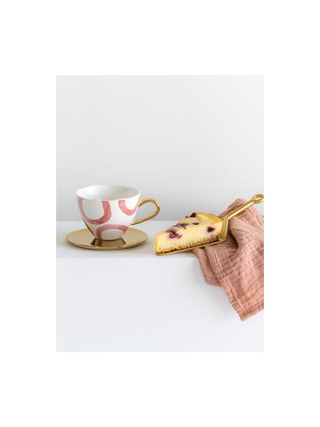Tazza dipinta con manico dorato Good Morning, New Bone China, Bianco, rosa, dorato, Ø 11 x Alt. 8 cm