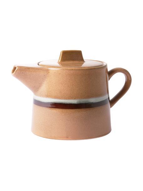 Handgemachte Teekanne 70's im Retro Style, 1,2 L, Keramik, Pfirsichfarben, Grau, Schwarz, 1,2 L
