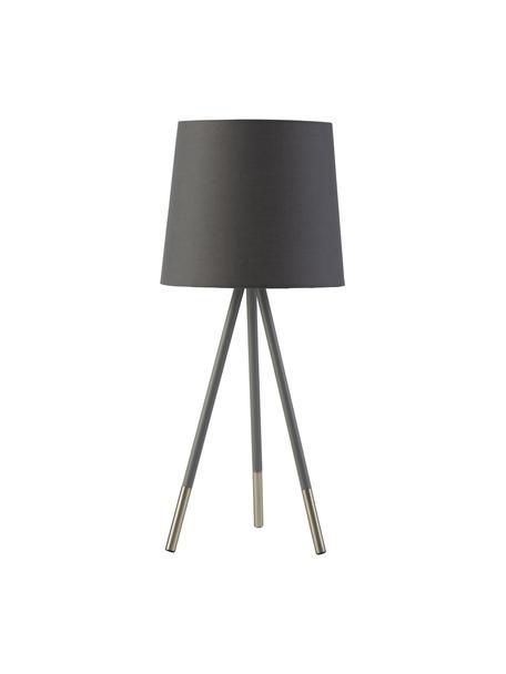 Grote tripod tafellamp Ripo, Lampenkap: stof, Lampvoet: staal, Donkergrijs, zilverkleurig, Ø 23 x H 54 cm