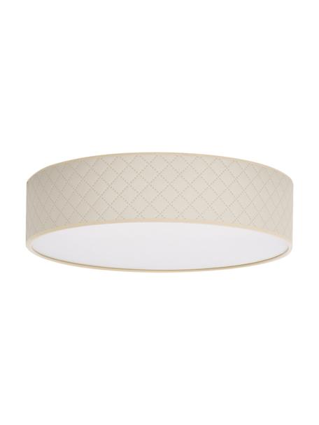 Plafondlamp Trece van kunstleer, Lampenkap: kunstleer, Diffuser: papier, Crèmekleurig, Ø 40 x H 11 cm