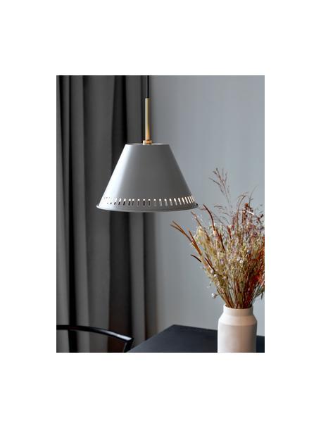 Retro-Pendelleuchte Pine, Lampenschirm: Metall, beschichtet, Dekor: Metall, beschichtet, Baldachin: Metall, Grau, Messingfarben, Ø 30 x H 31 cm