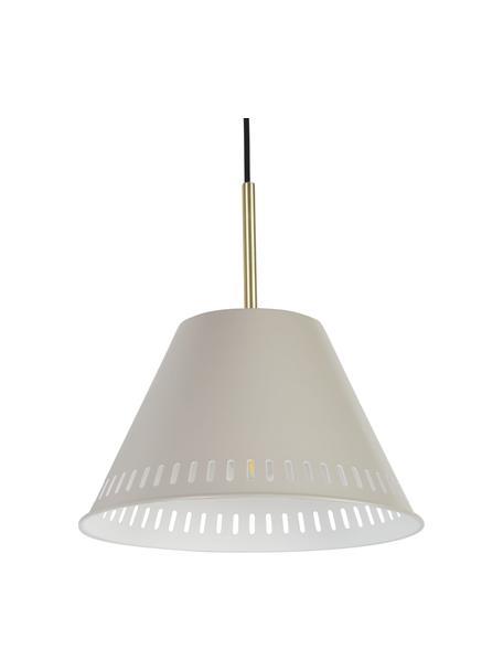 Retro hanglamp Pine, Lampenkap: gecoat metaal, Decoratie: gecoat metaal, Grijs, messingkleurig, Ø 30  x H 31 cm