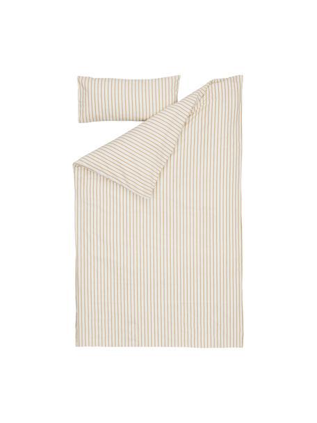 Pościel z bawełny organicznej z prześcieradłem Ghia, 100% bawełna organiczna, certyfikat GOTS Produkt wykonany jest z bawełny, która jest przyjemnie miękka dla skóry, dobrze wchłania wilgoć i jest odpowiednia dla alergików, Beżowy, musztardowy, S 70 x D 120 cm + 1 poduszka 30 x 60 cm