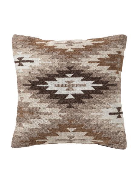 Kussenhoes Dilan met ethnopatroon in bruin/beige van wol, 80% wol, 20% katoen, Bruintinten, wit, 45 x 45 cm