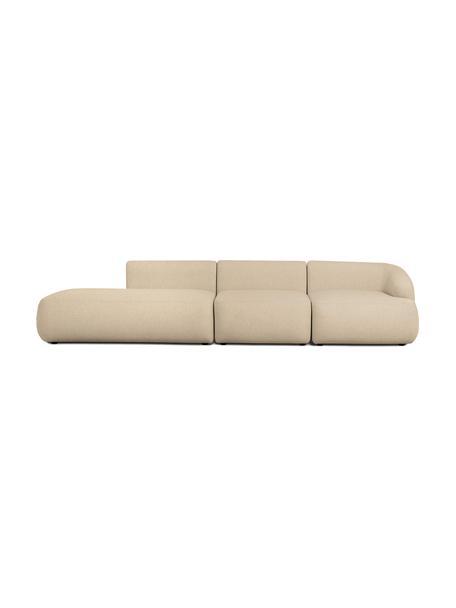 Modulaire chaise longue Sofia, bruin, Bekleding: 100% polypropyleen, Frame: massief grenenhout, spaan, Poten: kunststof, Bruin, B 340 x D 95 cm