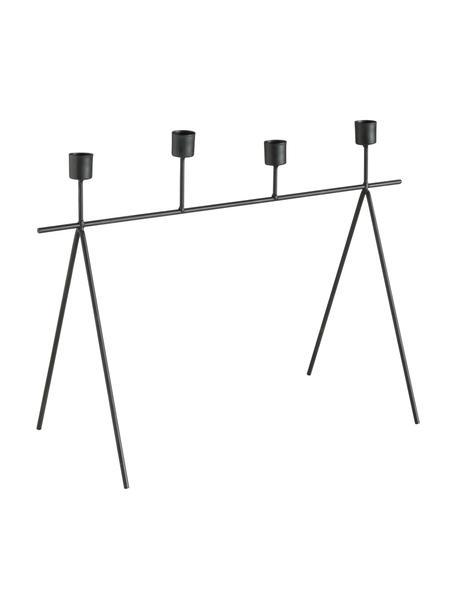 Kandelaar Refine, Gecoat metaal, Zwart, 45 x 32 cm