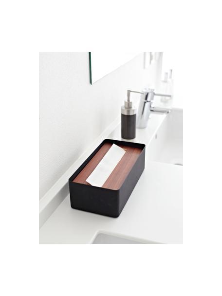 Kosmetiktuchbox Rin mit abnehmbaren Bambus-Deckel, Deckel: Holz, Box: Stahl, lackiert, Schwarz, Dunkelbraun, 26 x 8 cm