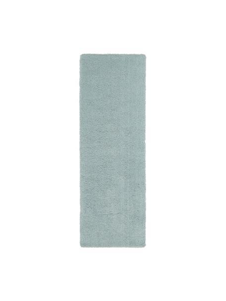 Pluizige hoogpolige loper Leighton in mintgroen, Bovenzijde: 100% polyester (microveze, Onderzijde: 70% polyester, 30% katoen, Mintgroen, 80 x 250 cm
