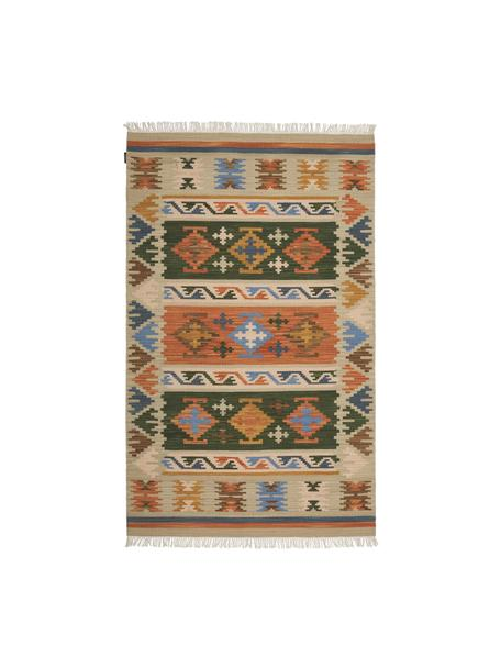 Alfombra alfombra artesanal kilim de lana con flecos Olon, 100%lana, Multicolor, An 75 x L 125 cm (Tamaño XS)