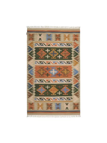 Handgeweven Kelim vloerkleed Olon van wol met franjes, 100% wol, Multicolour, B 75 x L 125 cm (maat XS)