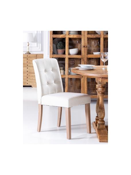 Krzesło tapicerowane z lnu Capitone, Tapicerka: len, 230g/m2, Nogi: drewno kauczukowe, Odcienie kremowego, S 33 x G 45 cm