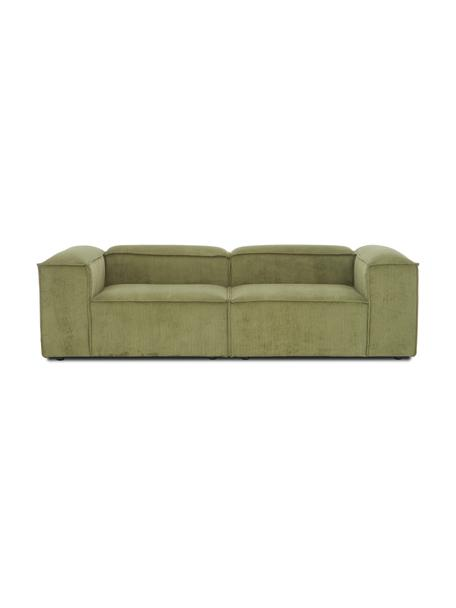 Sofá modular de pana Lennon (3plazas), Tapizado: pana (92%poliéster, 8%p, Estructura: madera de pino maciza, ma, Patas: plástico Las patas están , Pana verde, An 238 x F 119 cm