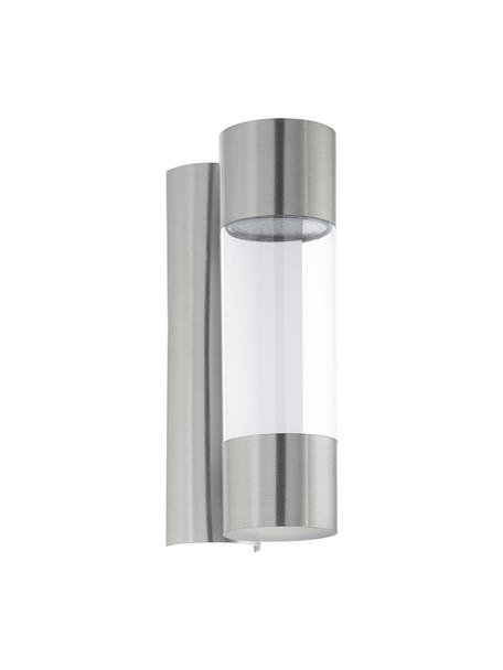 Applique a LED da esterno Robledo, Struttura: acciaio inossidabile, Paralume: materiale sintetico, Montatura: acciaio inossidabile Paralume: acciaio inossidabile, trasparente, Larg. 8 x Alt. 26 cm