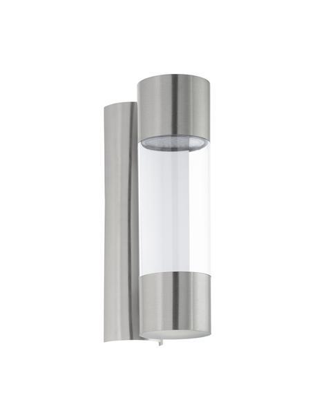 Outdoor LED wandlamp Robledo, Lampenkap: kunststof, Bevestiging: edelstaalkleurig. Lampenkap: edelstaalkleurig, transparant, 8 x 26 cm