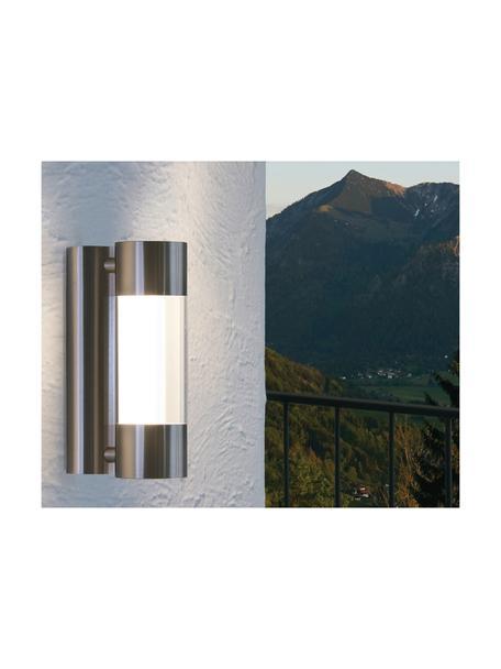 LED-Aussenwandleuchte Robledo, Lampenschirm: Kunststoff, Befestigung: Edelstahl Lampenschirm: Edelstahl, Transparent, 8 x 26 cm