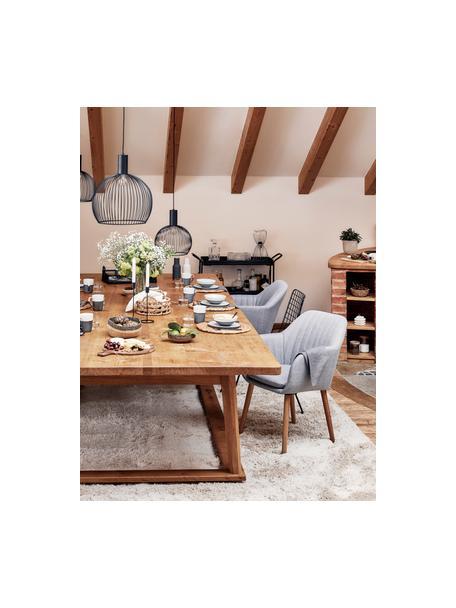 Armstoel Emilia met houten poten, Bekleding: polyester fluweel, Poten: eikenhout, geolied, Geweven stof lichtgrijs, poten eiken, B 57 x D 59 cm