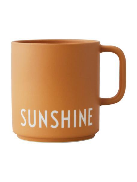 Design koffiekopje Favourite SUNSHINE in mosterdgeel met opschrift, Fine Bone China (porselein), Mosterdgeel, wit, Ø 10 x H 9 cm