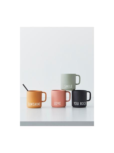Design koffiemok Favourite SUNSHINE in mosterdgeel met opschrift, Fine Bone China (porselein), Mosterdgeel, wit, Ø 10 x H 9 cm