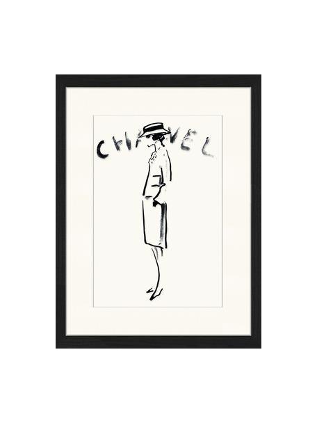 Ingelijste digitale print Chanel, Afbeelding: digitale print op papier,, Lijst: gelakt hout, Zwart, wit, 33 x 43 cm