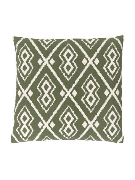 Funda de cojín Delilah, estilo boho, 100%algodón, Verde oliva, An 45 x L 45 cm