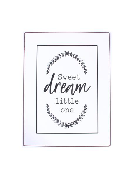 Letrero decorativo Sweet Dream Little One, Metal recubierto, Blanco, negro, An 27 x Al 35 cm