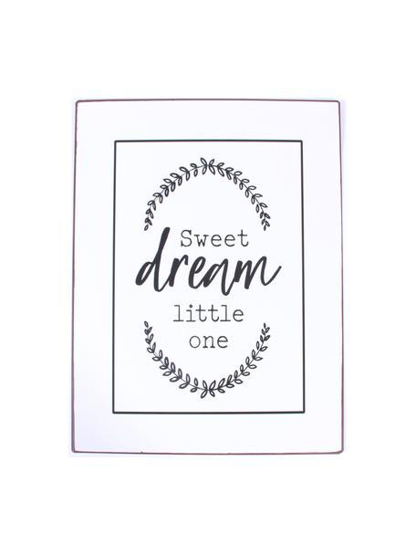 Wandbord Sweet dream little one, Gecoat metaal, Wit, zwart, 27 x 35 cm