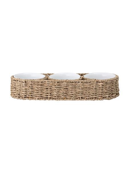 Servierschälchen mit Halterung aus Seegras Riya, 3er-Set, Schälchen: Keramik, Halterung: Seegras, Metall, Beige, Weiß, 36 x 7 cm