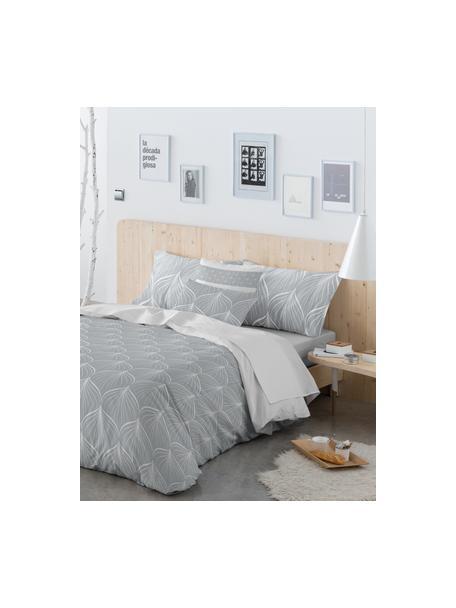 Dubbelzijdig dekbedovertrek Rama, Katoen, Bovenzijde: grijs, wit. Onderzijde: wit, 140 x 200 cm