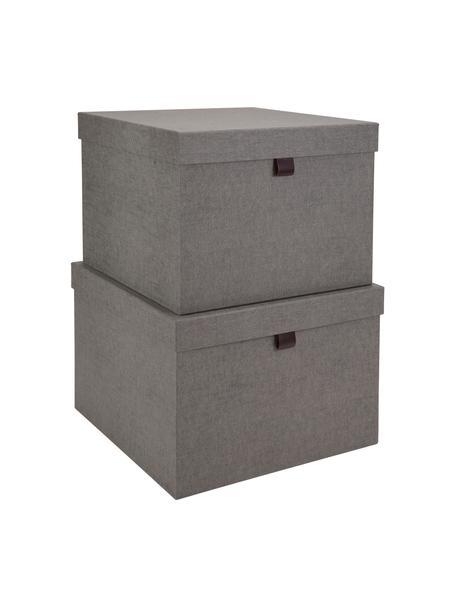 Aufbewahrungsboxen-Set Tristan, 2-tlg., Box: Fester, laminierter Karto, Griff: Leder, Grau, Set mit verschiedenen Grössen