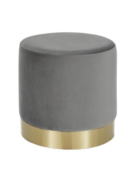 Puf z aksamitu Orchid, Tapicerka: aksamit (100% poliester) , Tapicerka: szary, podstawa: odcienie złotego, Ø 38 x W 38 cm