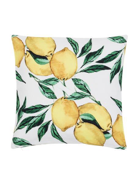 Kissenhülle Citrus mit Zitronen, 100% Baumwolle, Gelb, Grün, Weiß, 50 x 50 cm