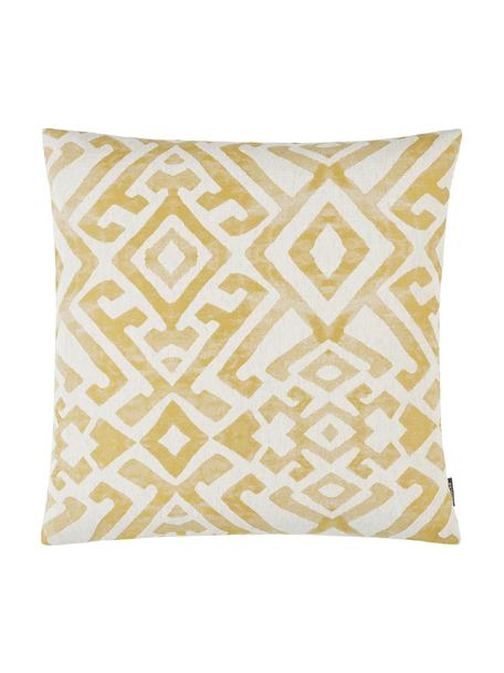 Ethno  kussenhoes Elani in gewassen look met patroon, 65%polyester, 25%viscose, 10%linnen, Crèmekleurig, geel, 40 x 40 cm