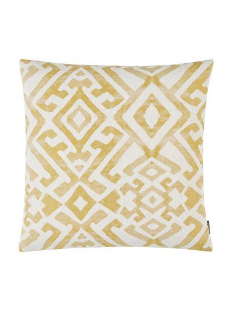 Poszewka na poduszkę z efektem sprania Elani, 65%poliester, 25%wiskoza, 10%len, Kremowy, żółty, S 40 x D 40 cm
