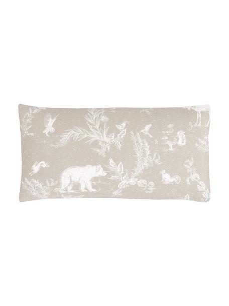 Poszewka na poduszkę z flaneli Animal Toile, 2 szt., Beżowy, S 40 x D 80 cm