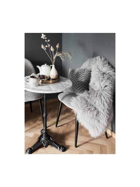 Tappeto in pelliccia d'agnello a pelo lungo Ella, Retro: pelle, Grigio chiaro, Larg. 50 x Lung. 160 cm