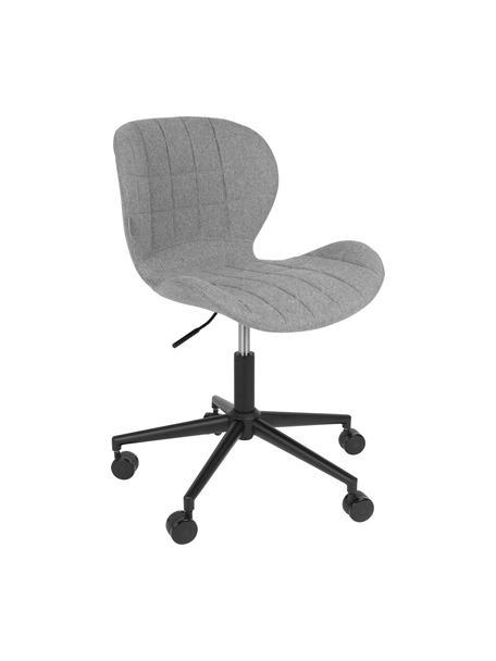 Krzesło biurowe OMG, obrotowe, Tapicerka: 100% poliester, Stelaż: stal malowana proszkowo, Korpus: drewno warstwowe, Tapicerka: pianka, Tapicerka: jasny szary Podstawa z kółkami: czarny, S 65 x W 76 cm