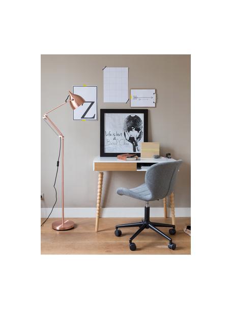 Bürodrehstuhl OMG, höhenverstellbar, Bezug: Polyester, Gestell: Stahl, pulverbeschichtet, Korpus: Schichtholz, Bezug: HellgrauSockel mit Rollen: Schwarz, 65 x 76 cm